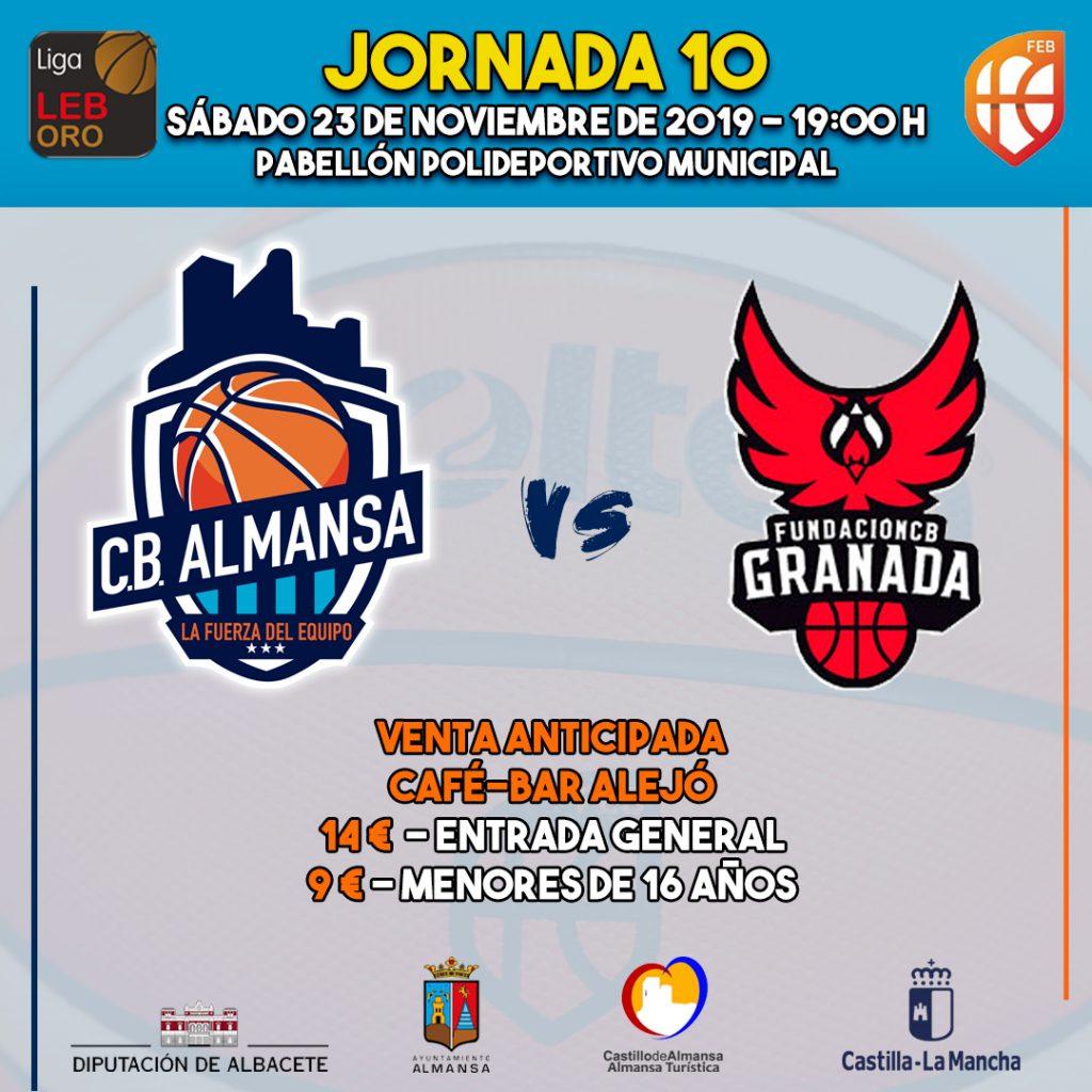 Cartel del partido que enfrentará al Afanion CB Almansa y a Coviran Granada