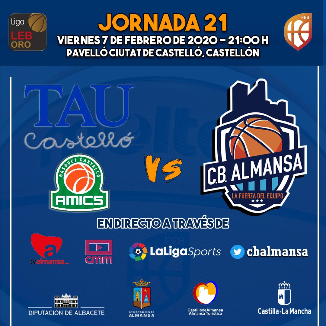Cartel jornada 21 TAU Castelló Afanion CB Almansa