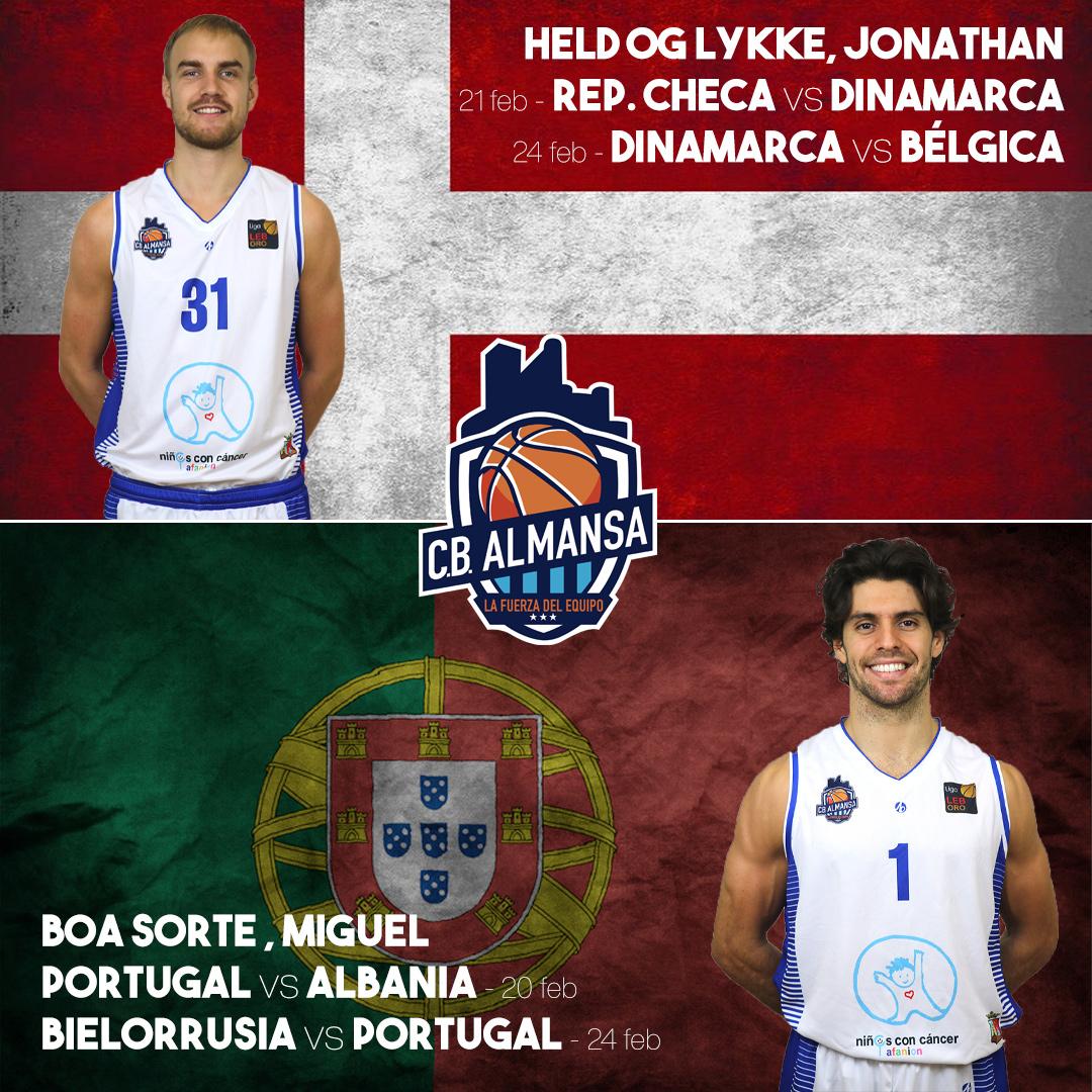Jonathan Gilling y Miguel Cardoso internacionales con sus selecciones en las ventanas FIBA