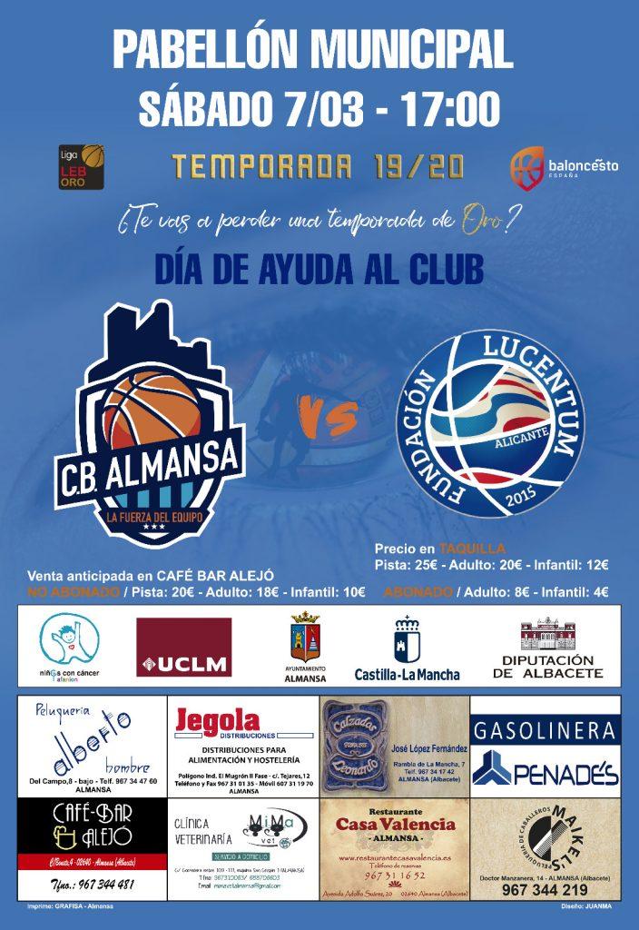 Cartel jornada 24 Afanion CB Almansa y HLA Alicante