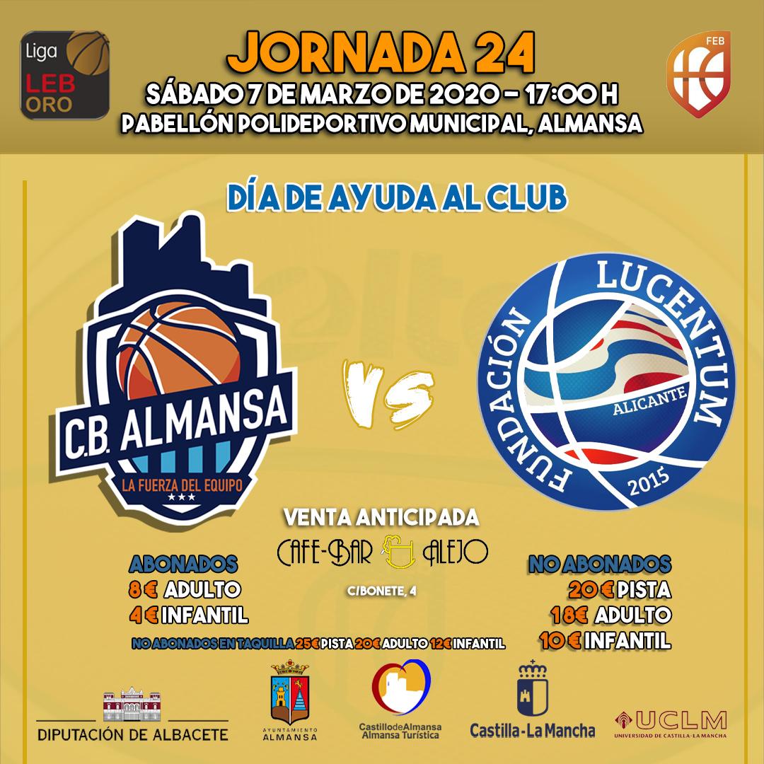Cartel encuentro entre Afanion CB Almansa y HLA Alicante