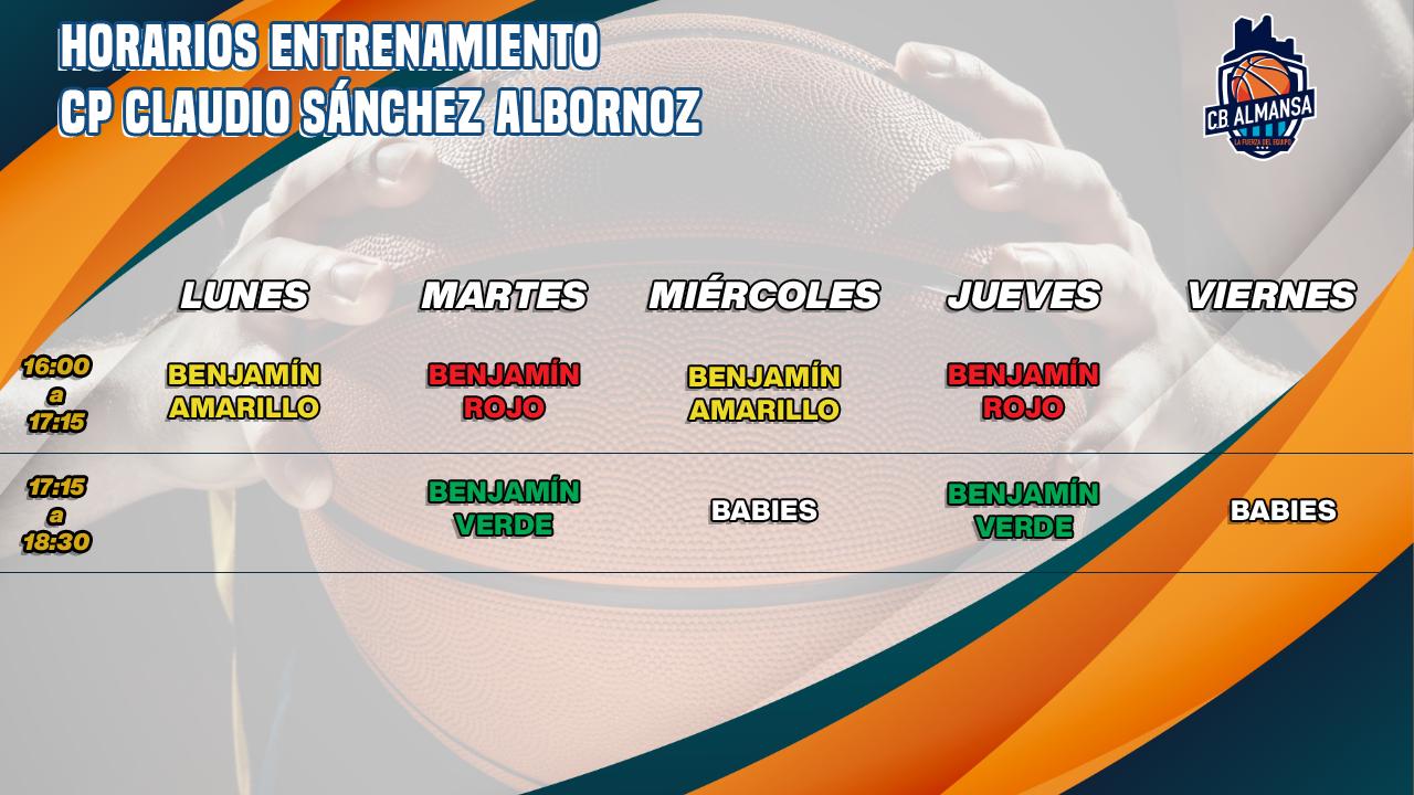 Horarios definitivos en el CP Claudio Sánchez Albornoz de la Cantera del CB Almansa