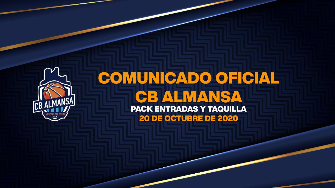 Comunicado Oficial Información pack entradas CB Almansa