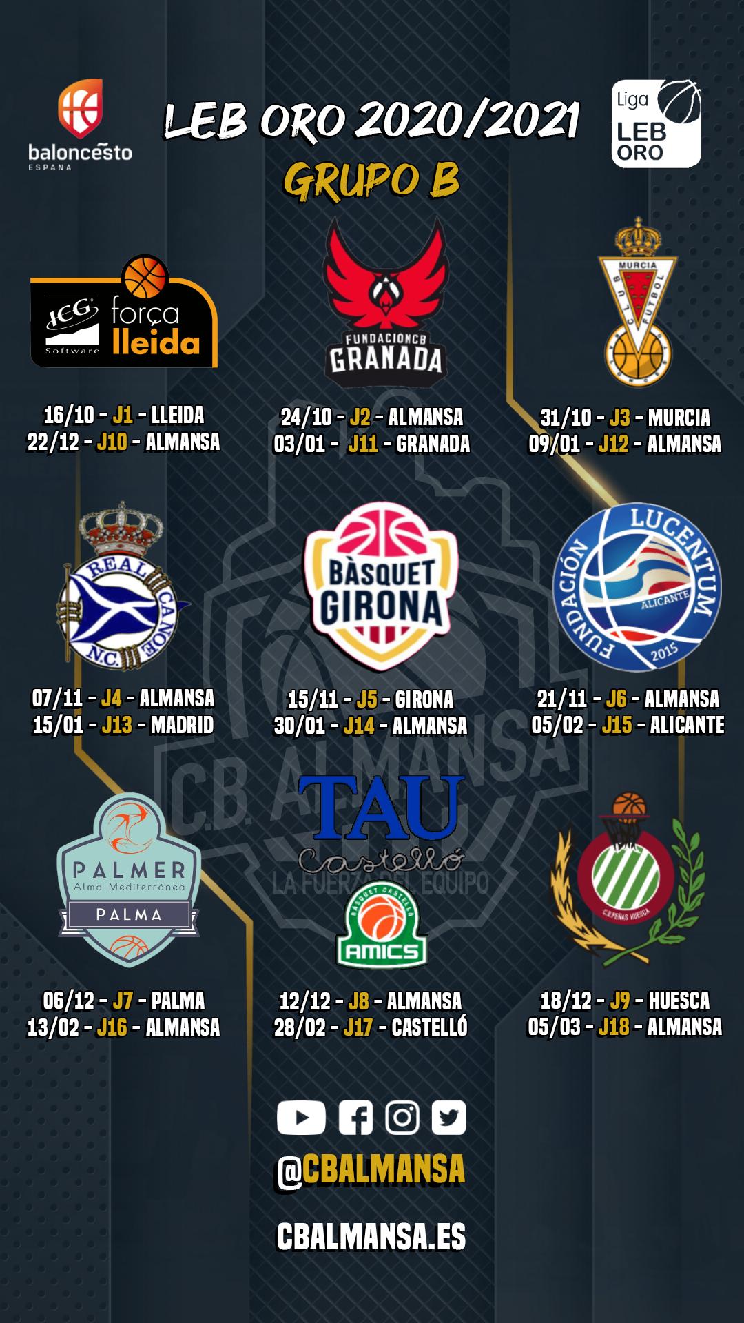 Calendario Grupo B LEB Oro CB Almansa