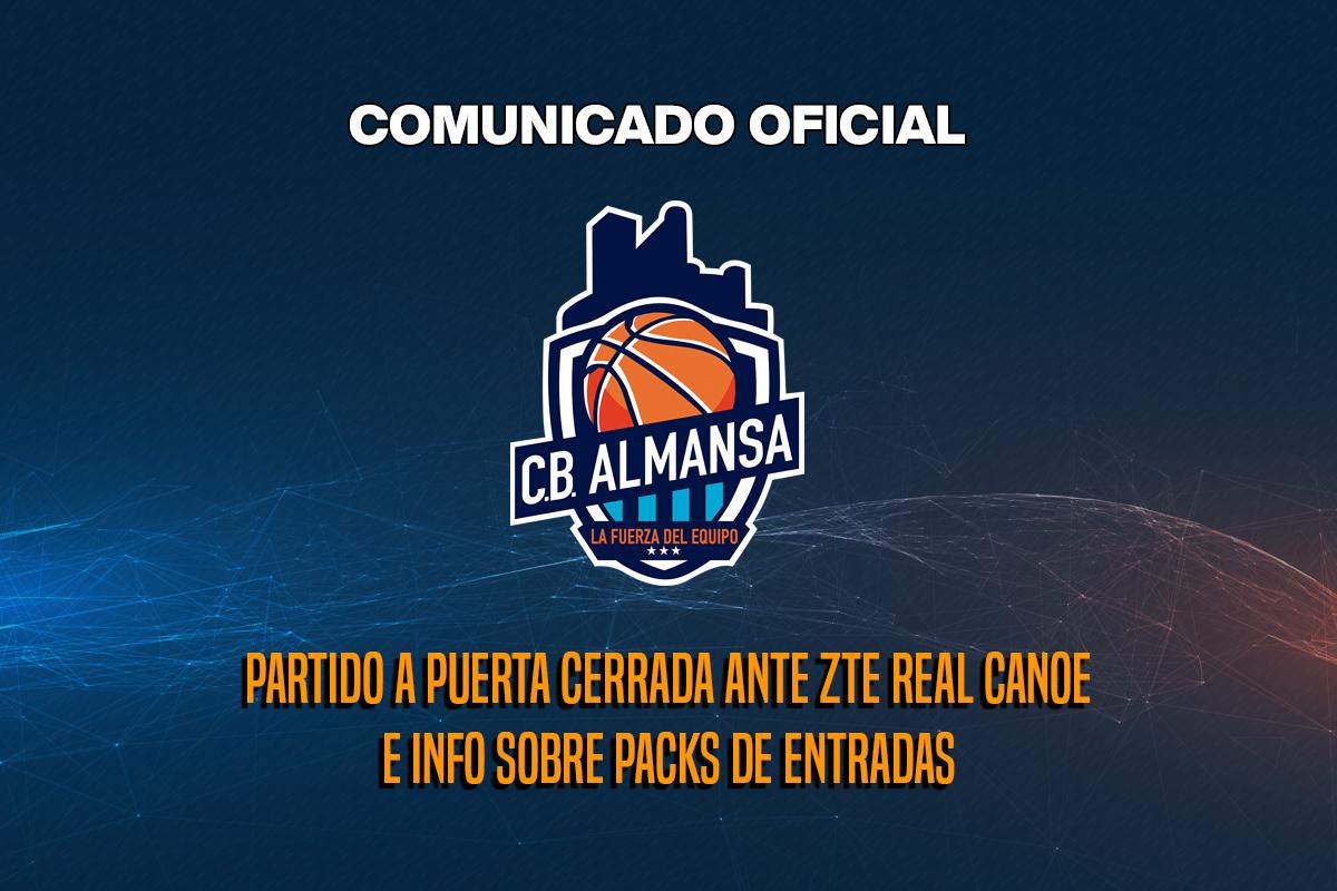 Comunicado Oficial: partido a puerta cerrada entre CB Almansa y Real Canoe