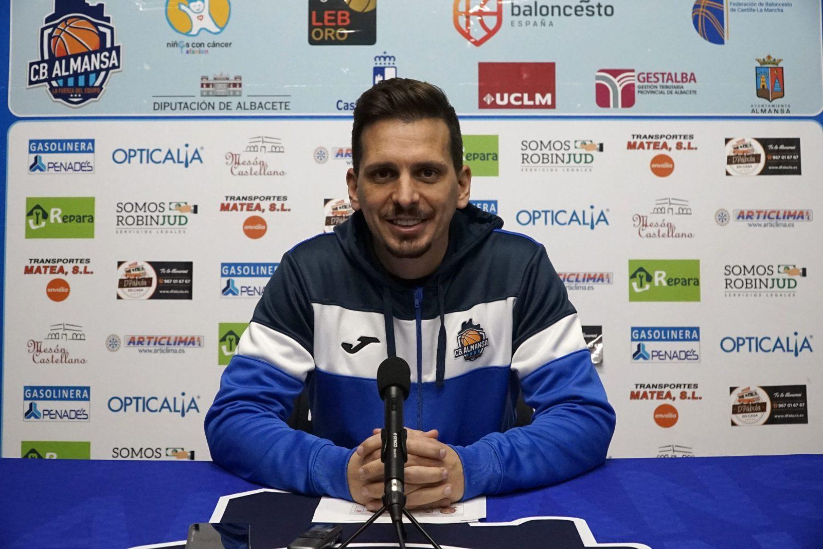 Rueda de prensa previa de Rubén Perelló. Levitec Huesca CB Almansa con AFANION