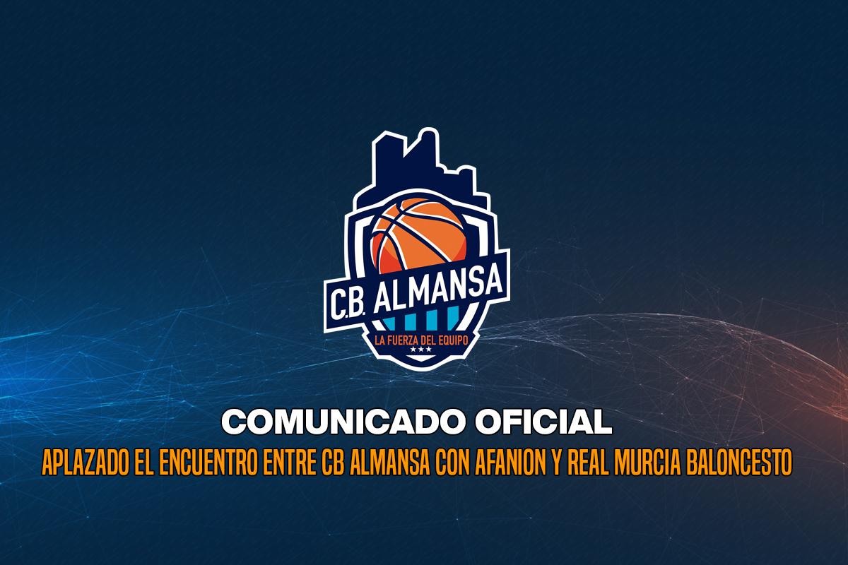 Aplazado el encuentro entre CB Almansa con AFANION y Real Murcia Baloncesto